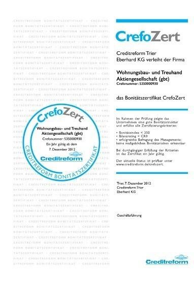 Crefozert - Auszeichnung von Creditreform
